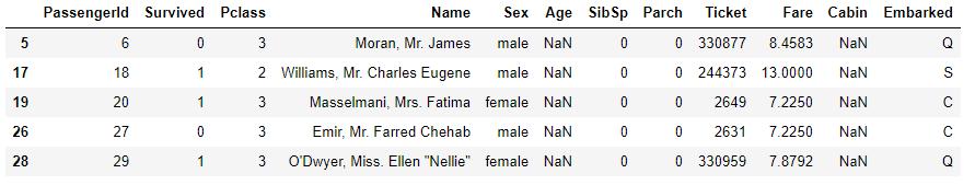 Ageの欠損値(先頭5行)